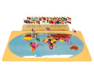 World Map with Flags & Stand-0