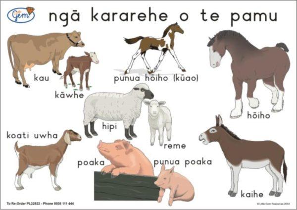 Farm Animals TWO Poster Maori-0