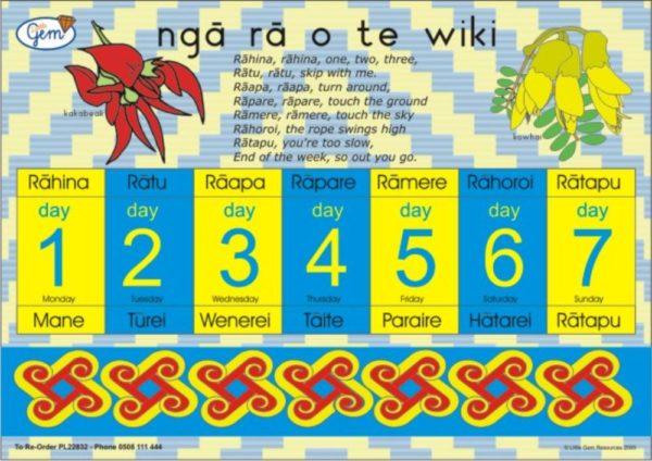 Days of the Week Poster Maori-0