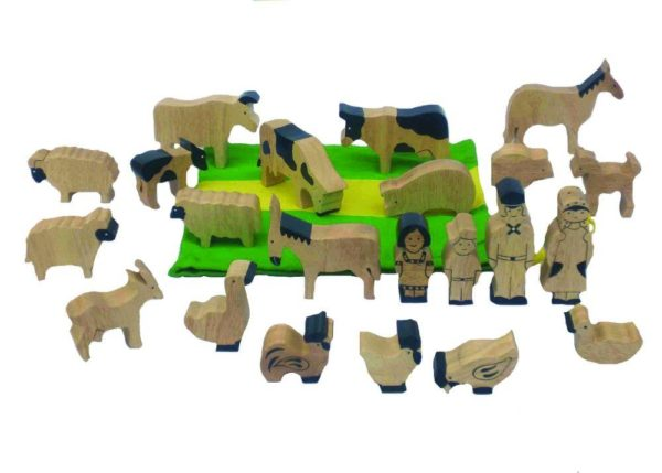Natural Wood Farm Animals Set (22pcs)-0