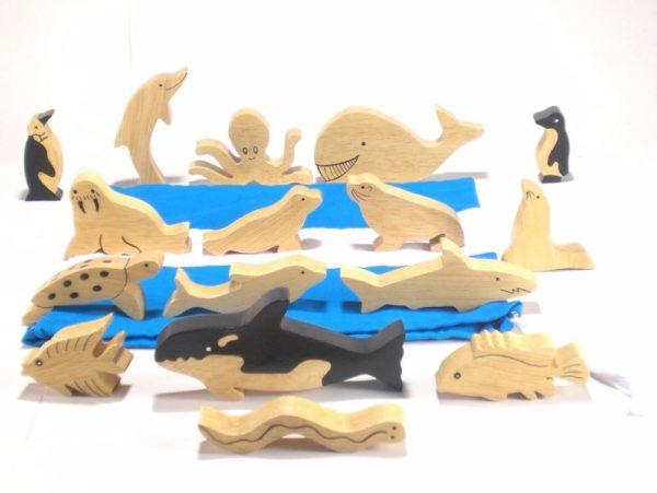 Natural Wood Sea Animals (16pcs)-0