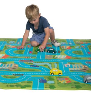 Bumpa Mat - Blue Car Track/Beige Honeycomb-0