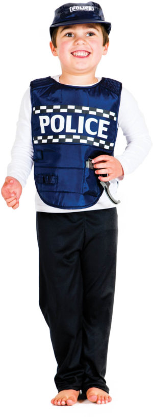 Police Blue Cap & Vest Dress-Up-0