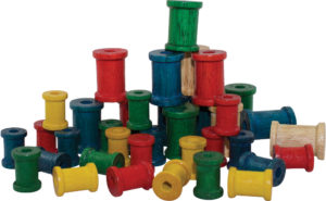 Wooden Cotton Reels Coloured (38pcs)-0