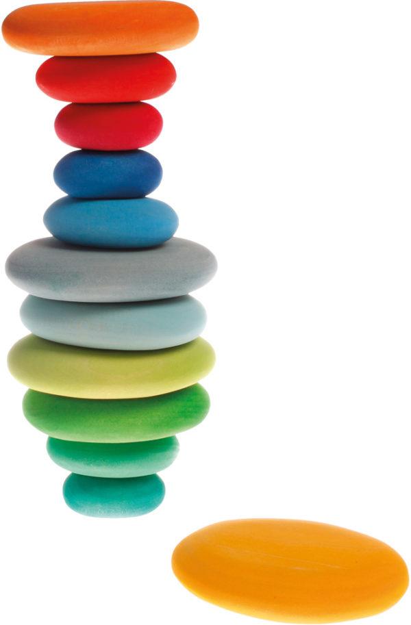 Wooden Coloured Pebbles (12pcs)-13722