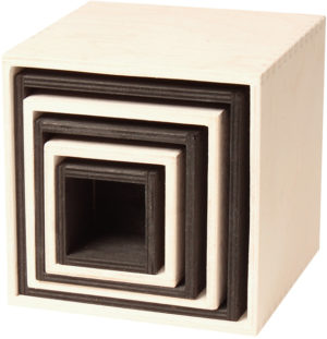 Black & White Stacking Boxes (6pcs)-0
