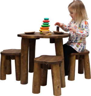 Natural Round Table & Stools Set (4pcs)-0