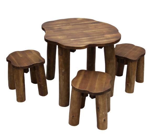 Natural Round Table & Stools Set (4pcs)-14540