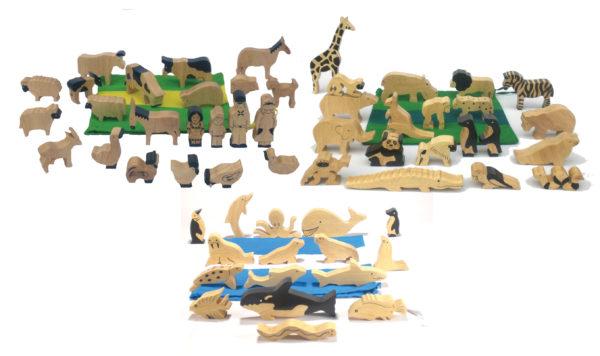 Natural Wooden Animals Set-0