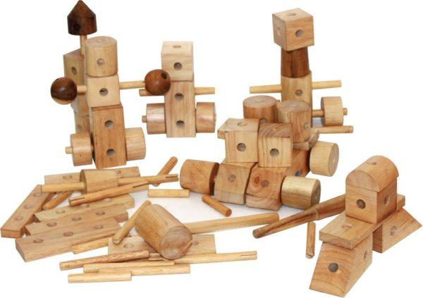 Natural Wood Construction Set (85pcs)-0