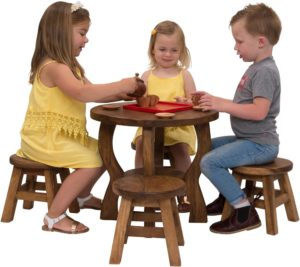 Wooden Round Table & Stools Set (5pcs)-0