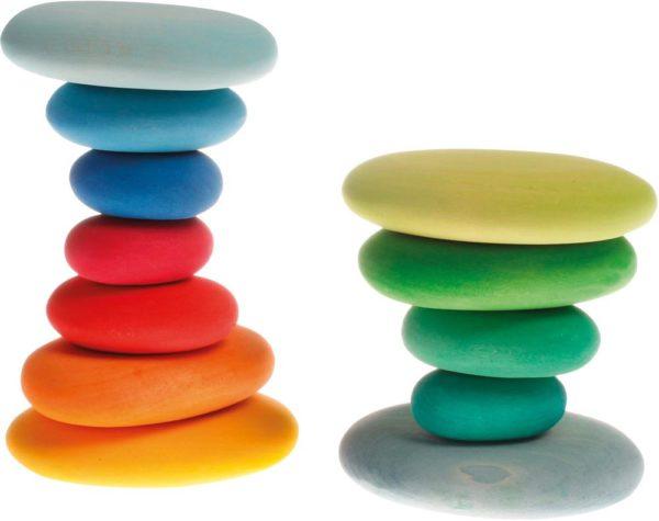 Wooden Coloured Pebbles (12pcs)-12925