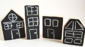 Natural Chalk Board Houses (4pcs)-0